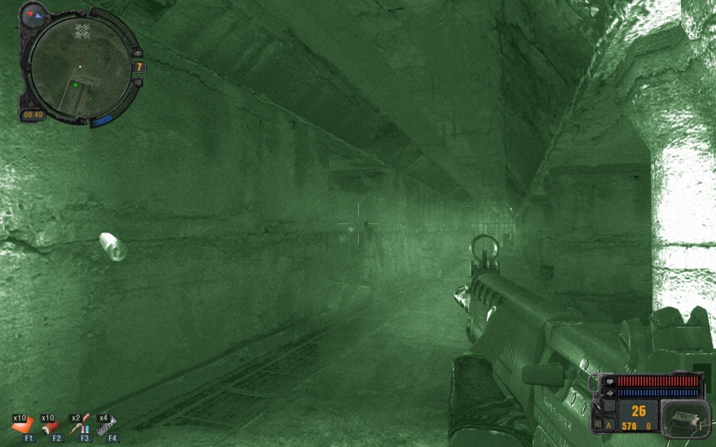 Night-vision can be helpful in the dark tunnel (Click image or link to go back)